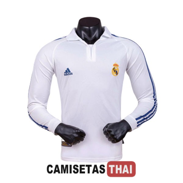 2001-2002 camiseta manga larga retro local real madrid
